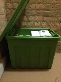 My already dangerously full storage bin.