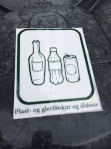 A recycling bin in Iceland--they are everywhere!